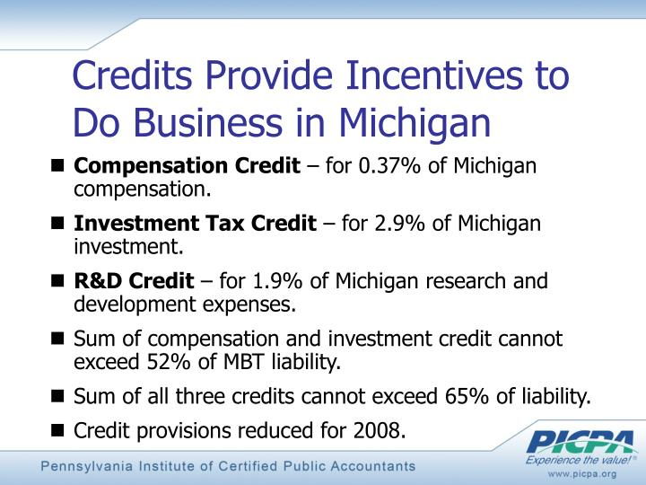 Credits Provide Incentives to
