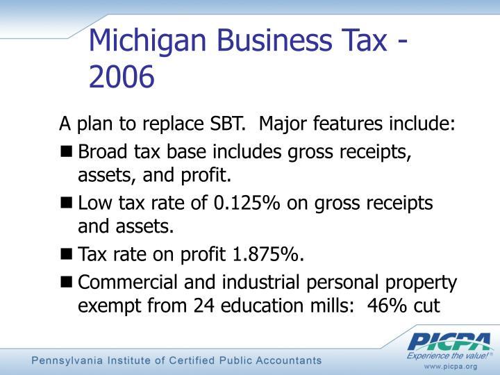 Michigan Business Tax - 2006