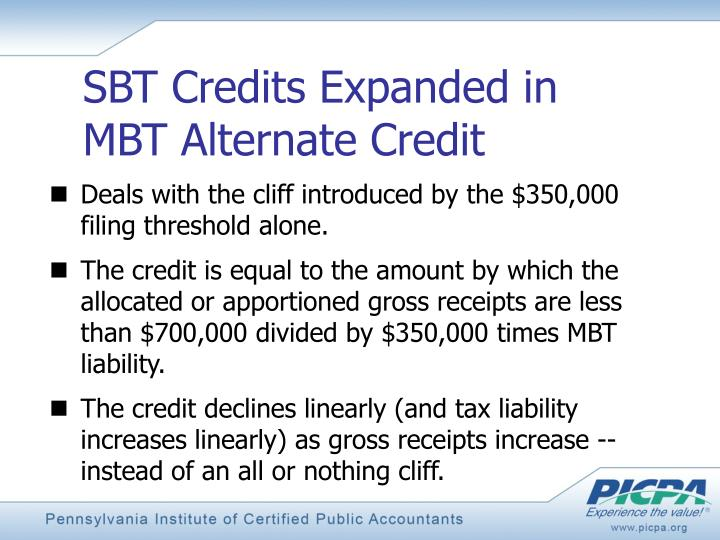 SBT Credits Expanded in MBT Alternate Credit