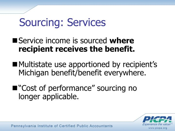Sourcing: Services