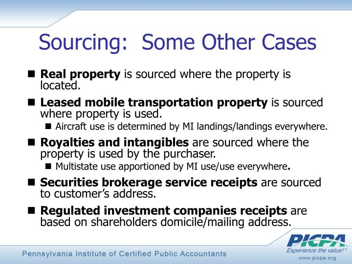 Sourcing:  Some Other Cases