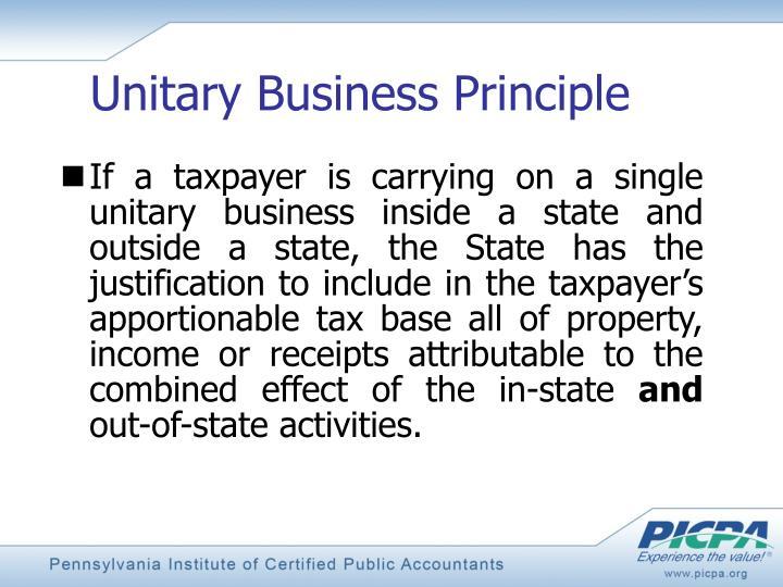 Unitary Business Principle
