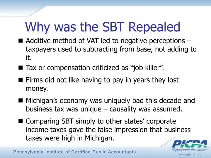Why was the SBT Repealed