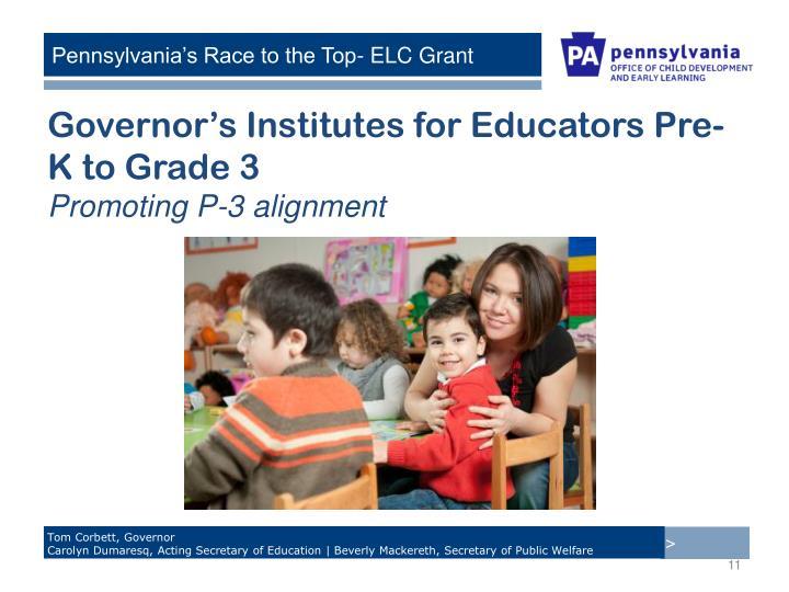 Governor's Institutes for Educators Pre-K to Grade