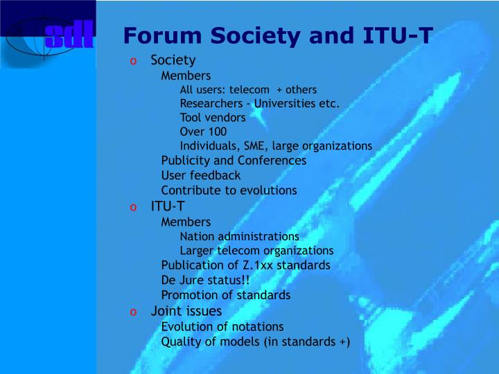 Forum Society and ITU-T