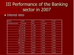 iii performance of the banking sector in 2007