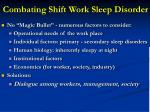 combating shift work sleep disorder