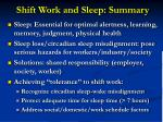 shift work and sleep summary
