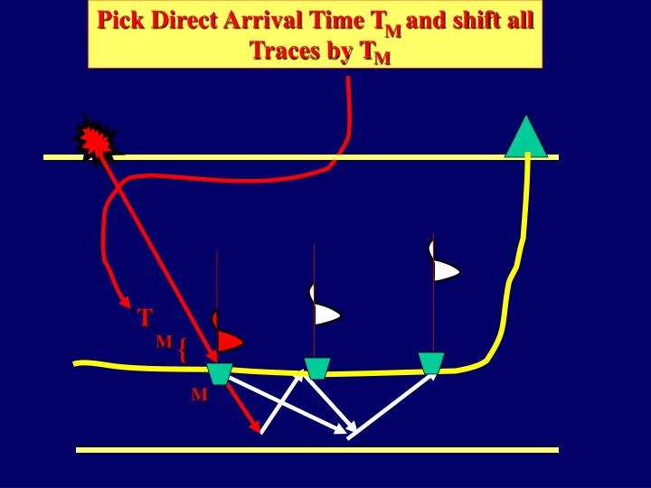 Pick Direct Arrival Time T   and shift all