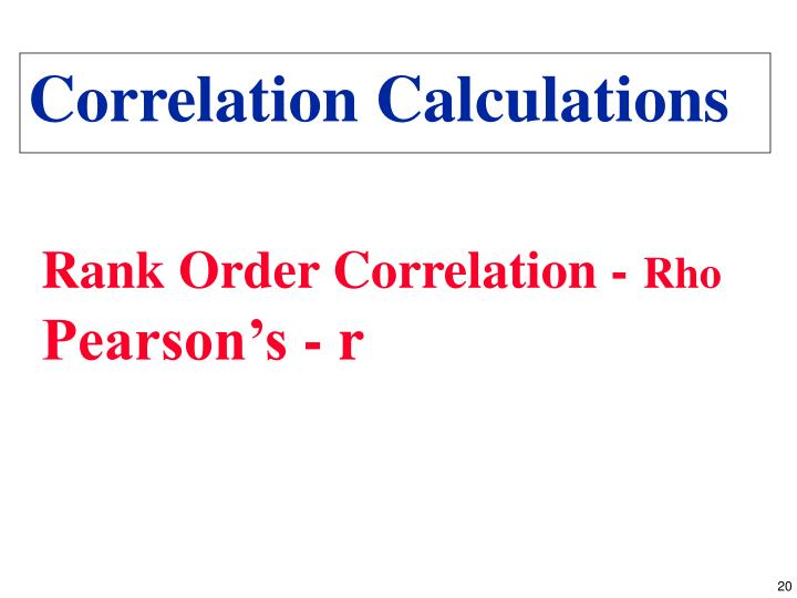 Correlation Calculations