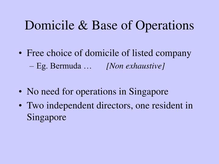 Domicile & Base of Operations