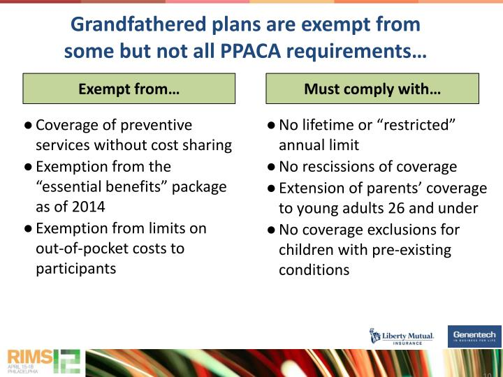 Grandfathered plans are exempt from some but not all PPACA requirements…