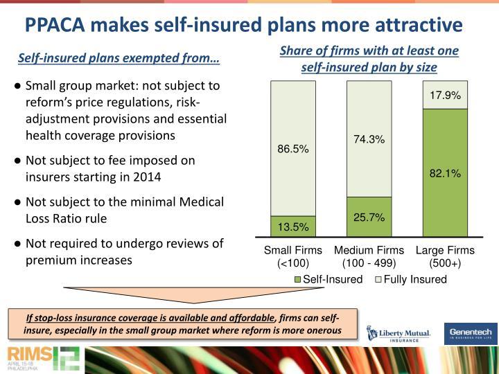 PPACA makes self-insured plans more attractive