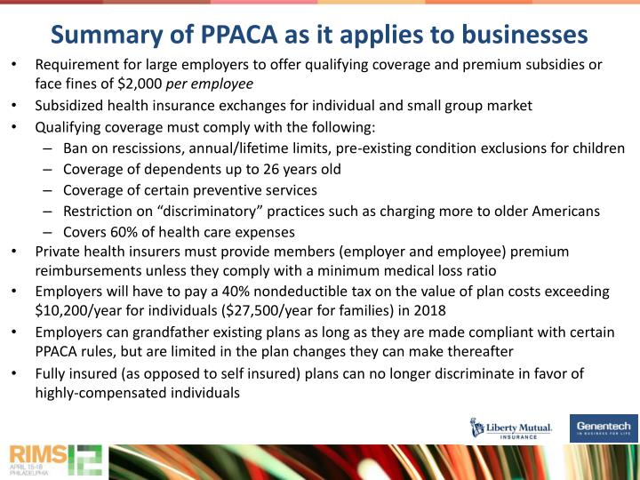 Summary of ppaca as it applies to businesses