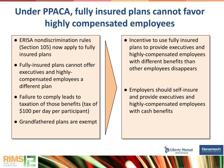 Under PPACA, fully insured plans cannot