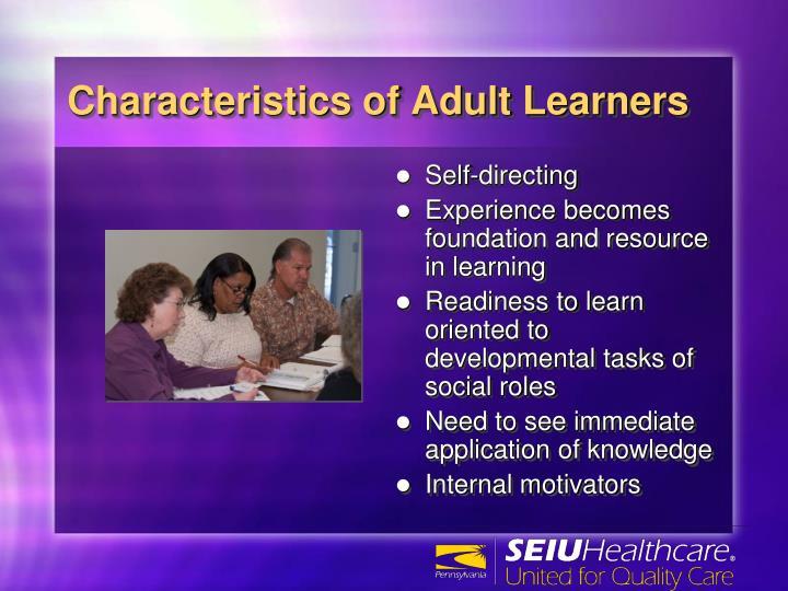 Characteristics of adult learners