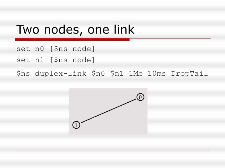 Two nodes, one link