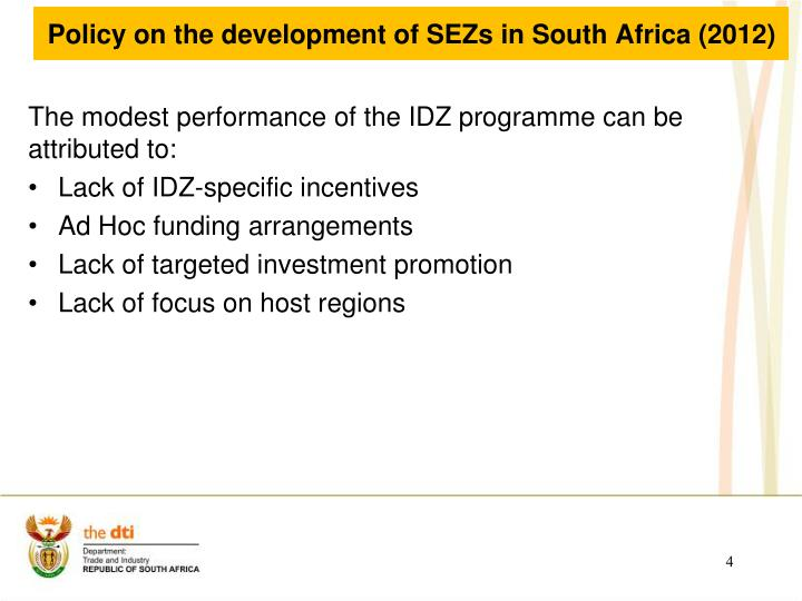 Policy on the development of SEZs in South Africa (2012)