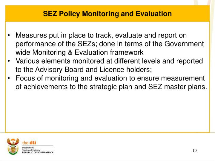 SEZ Policy Monitoring and Evaluation