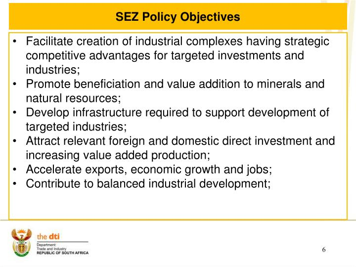 SEZ Policy Objectives