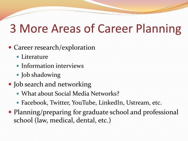 3 More Areas of Career Planning