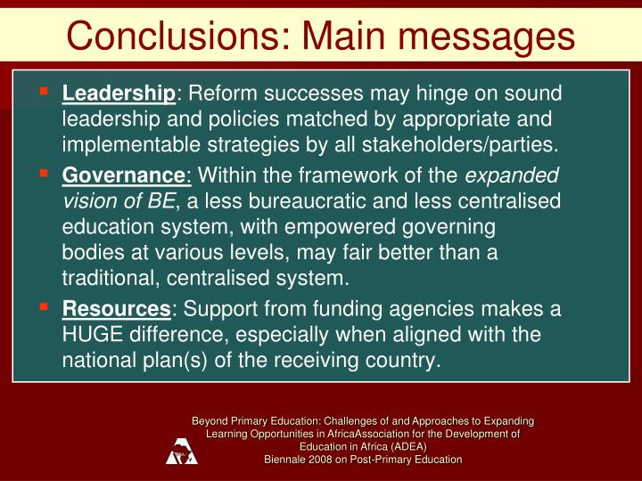 Conclusions: Main messages
