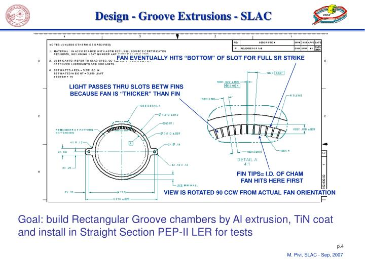 Design groove extrusions slac