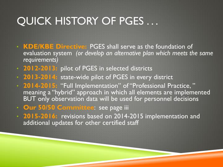 Quick history of pges