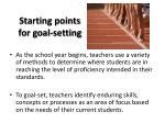 starting points for goal setting