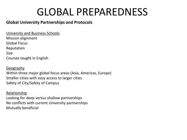 Global University Partnerships and Protocols