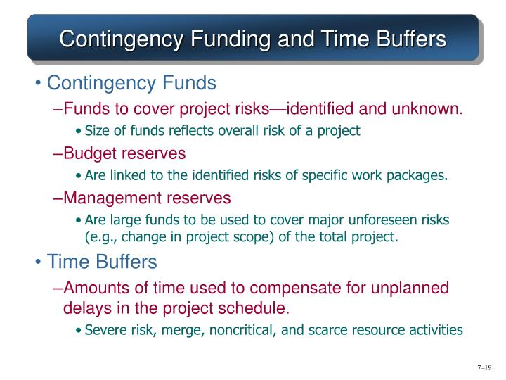 Contingency Funding and Time Buffers