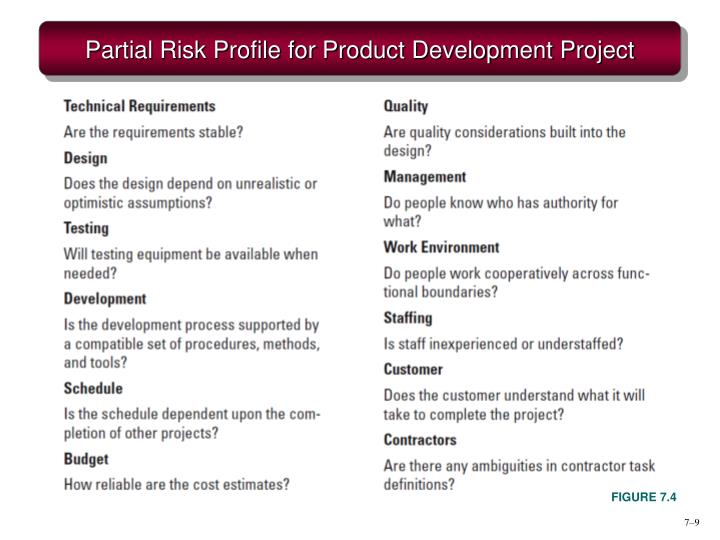 Partial Risk Profile for Product Development Project