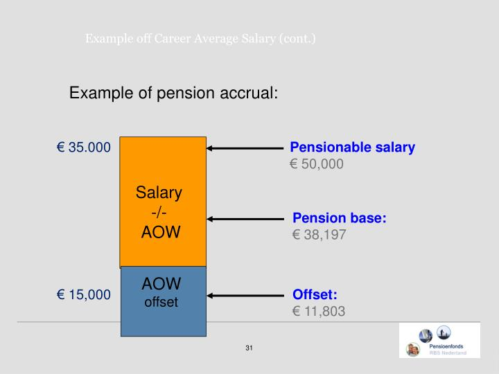 Example of pension accrual: