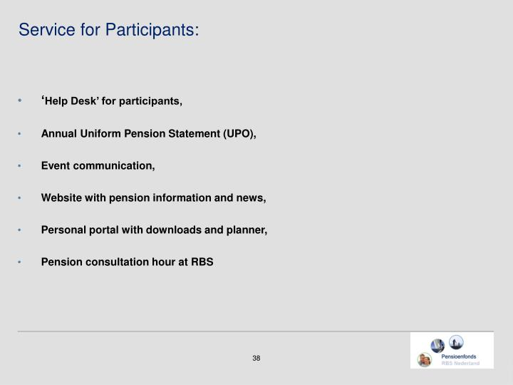 Service for Participants: