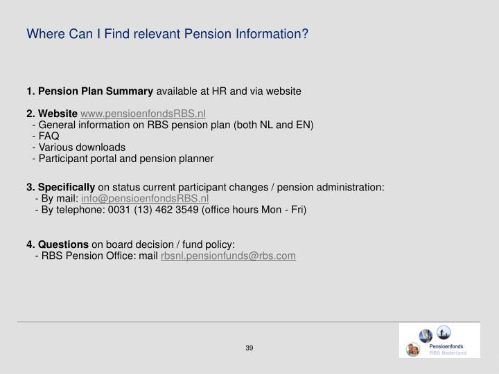 Where Can I Find relevant Pension Information?