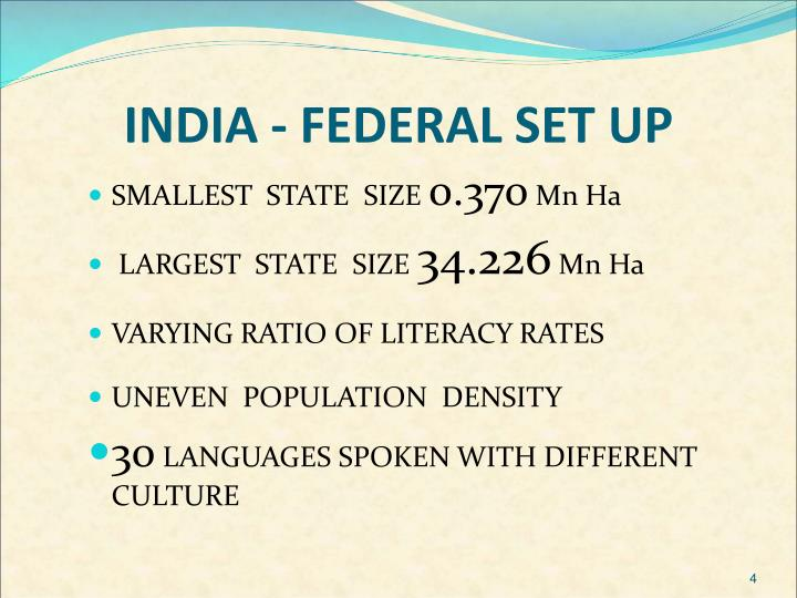 INDIA - FEDERAL SET UP