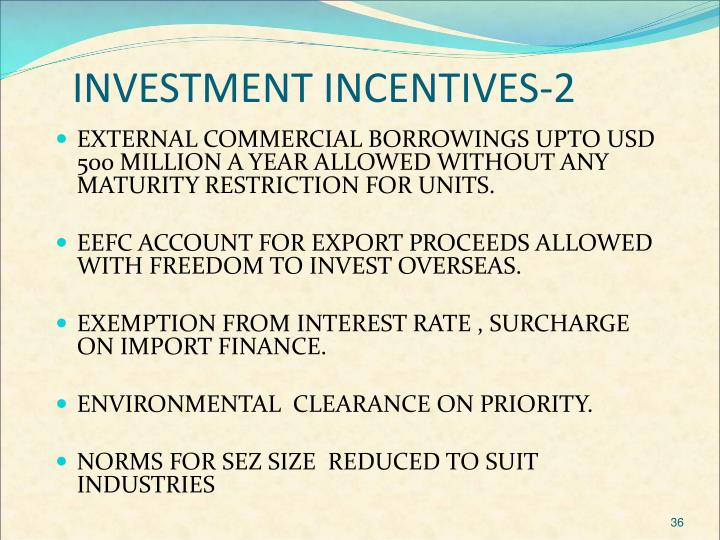 INVESTMENT INCENTIVES-2