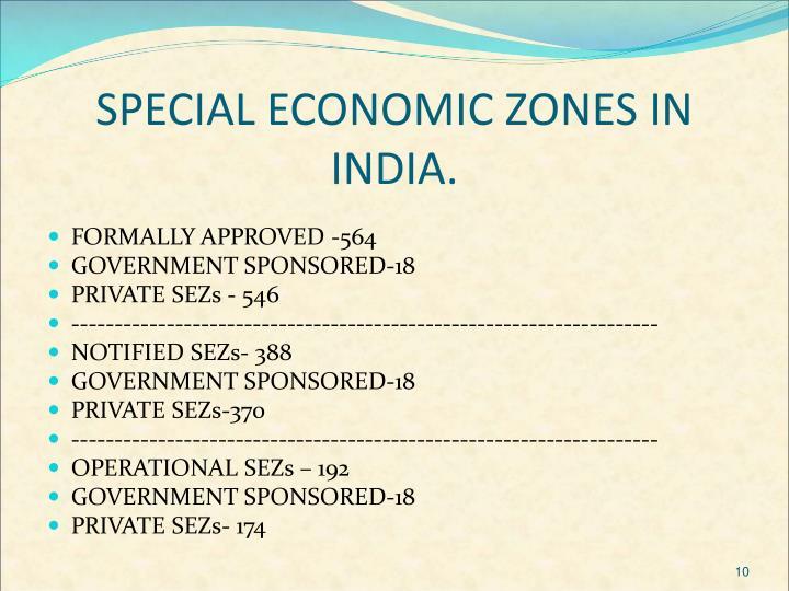 SPECIAL ECONOMIC ZONES IN INDIA.