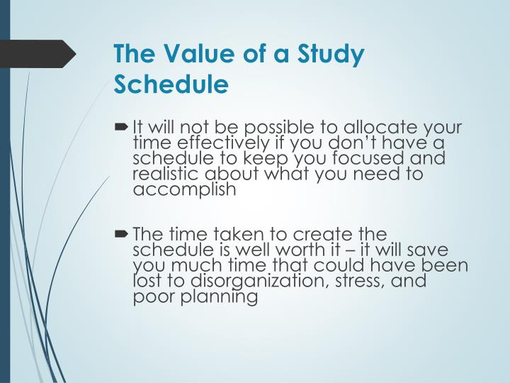 The Value of a Study Schedule