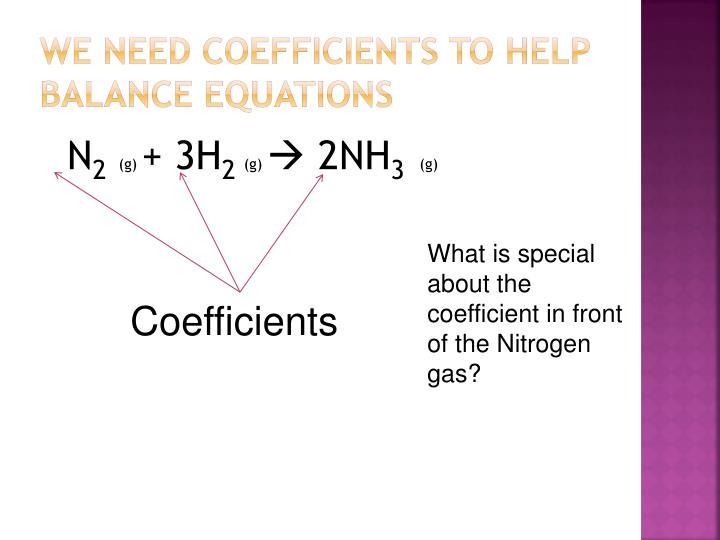 We need coefficients to help balance equations