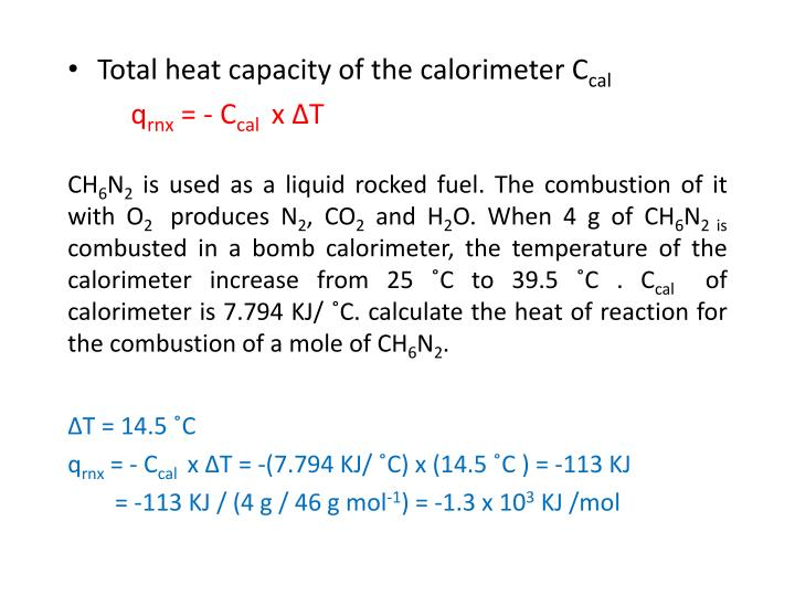 Total heat capacity of the calorimeter