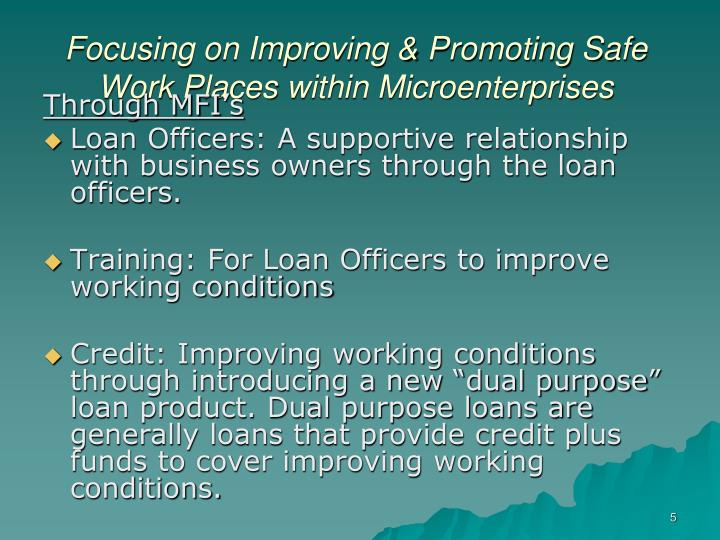 Focusing on Improving & Promoting Safe Work Places within Microenterprises