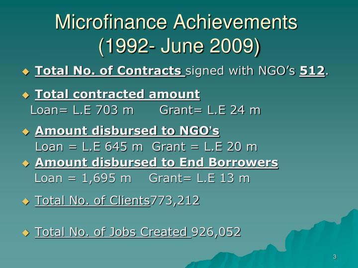 Microfinance achievements 1992 june 2009