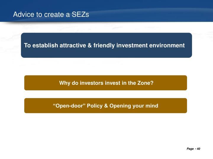 Advice to create a SEZs