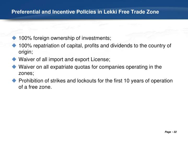 Preferential and Incentive Policies in Lekki Free Trade Zone