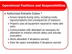 operational positions and responsibilities1