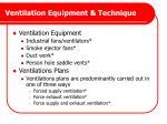 ventilation equipment technique
