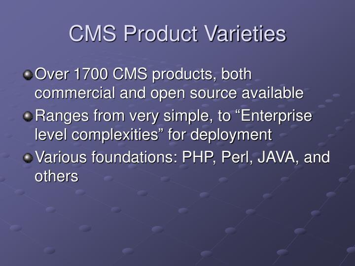 CMS Product Varieties