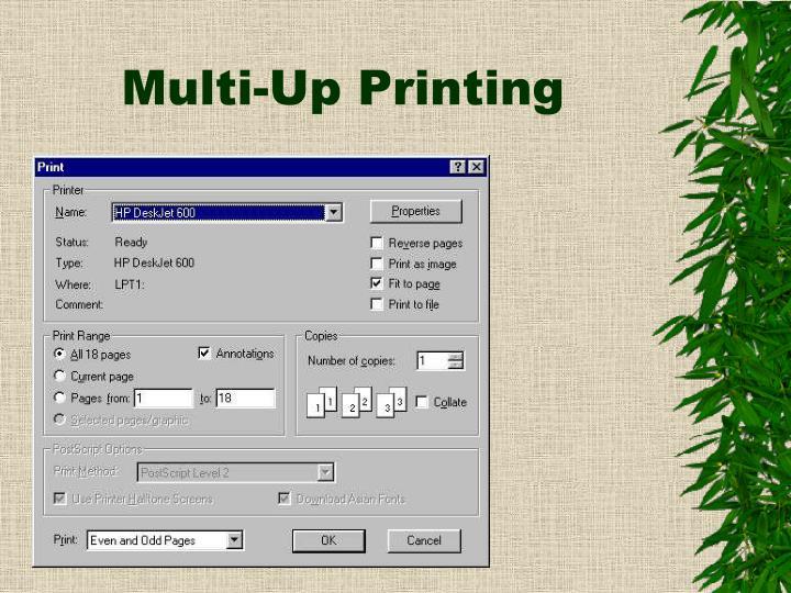 Multi up printing