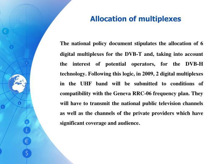Allocation of multiplexes